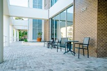 Outdoor seating area to eat a snack or drink your coffee before you head to class.